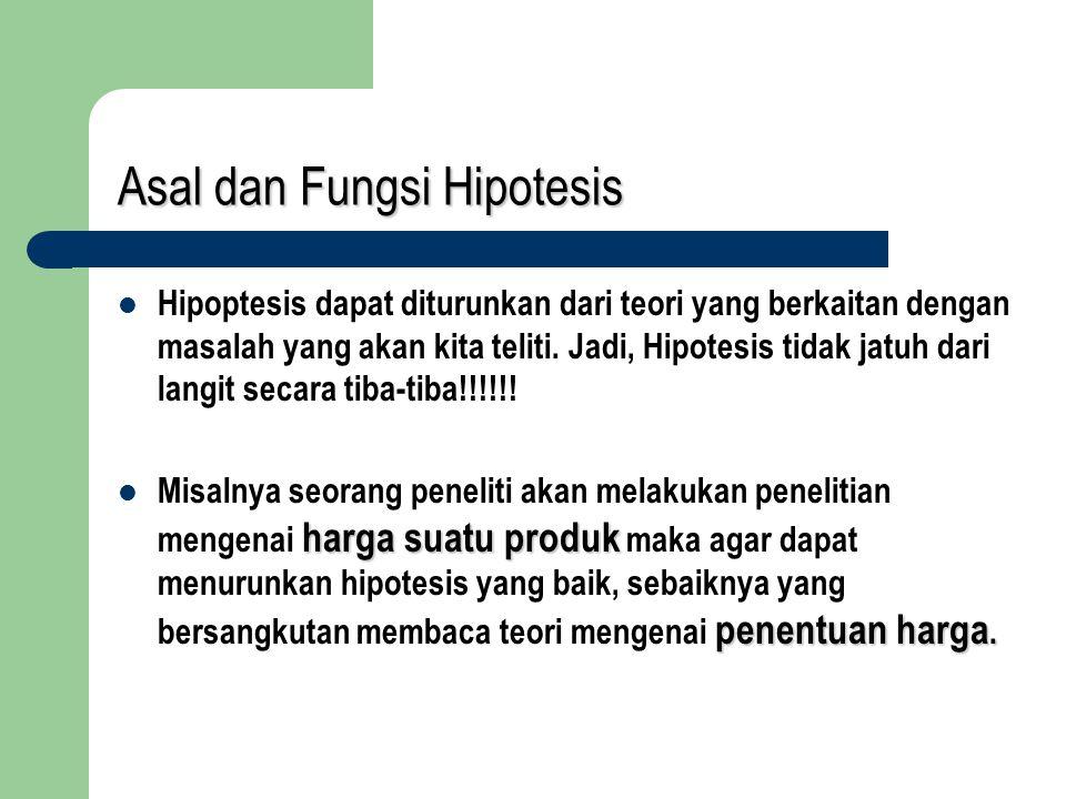 Asal dan Fungsi Hipotesis