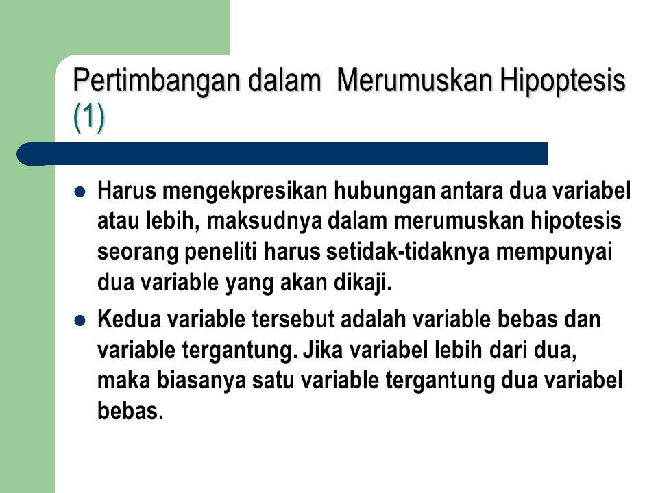 Pertimbangan dalam Merumuskan Hipoptesis (1)