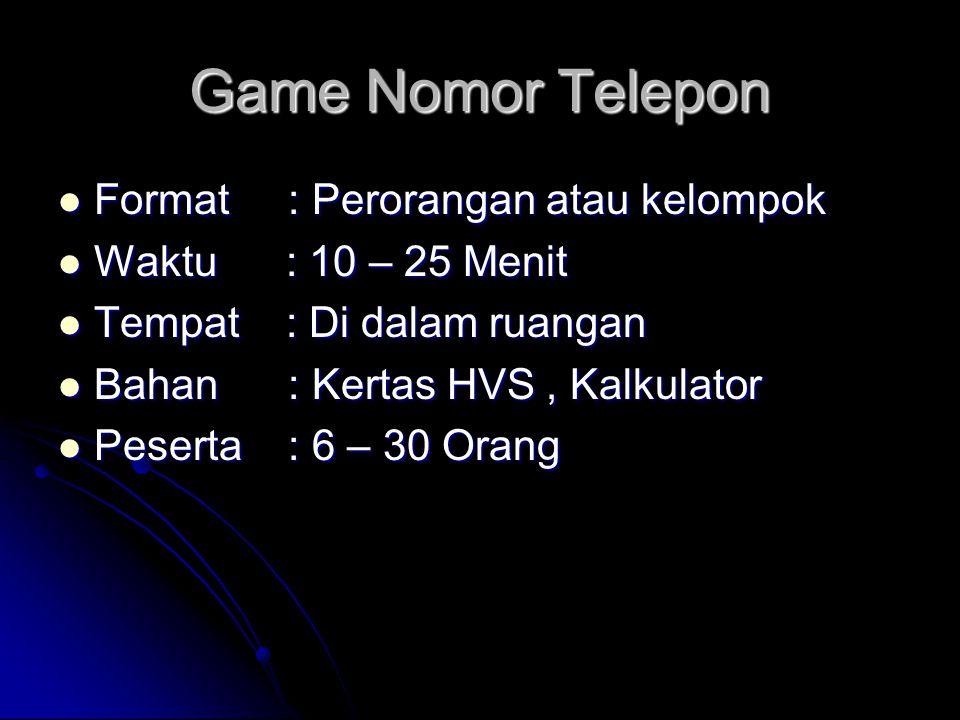Game Nomor Telepon Format : Perorangan atau kelompok