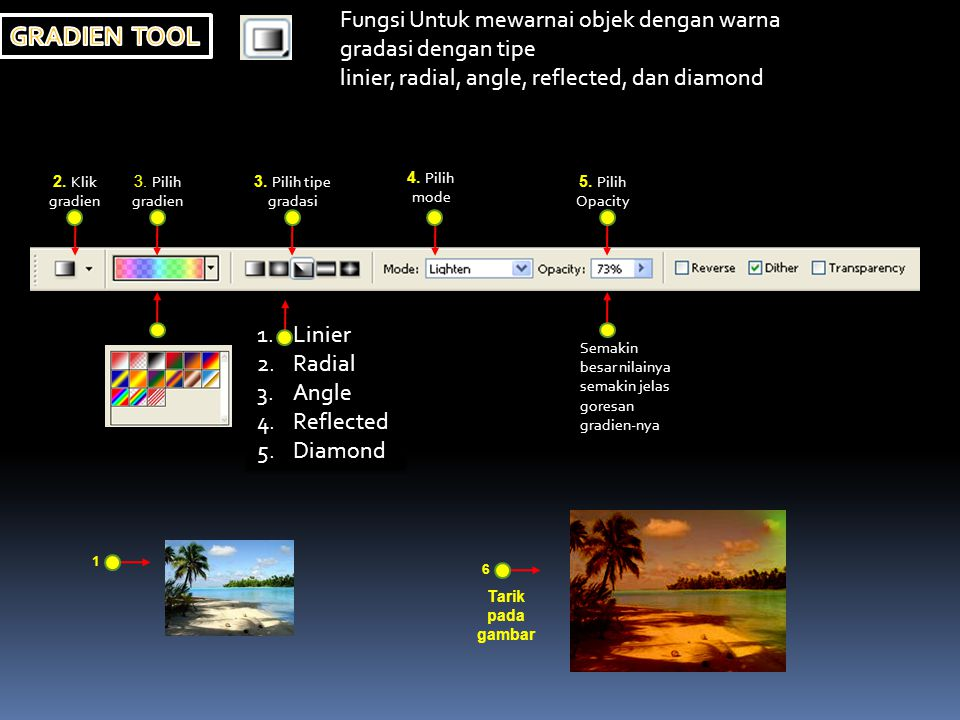 Fungsi Untuk mewarnai objek dengan warna gradasi dengan tipe