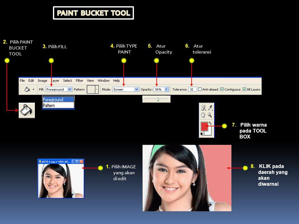 PAINT BUCKET TOOL 2. Pilih PAINT BUCKET TOOL 3. Pilih FILL