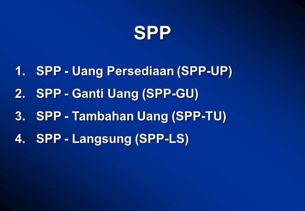 SPP SPP - Uang Persediaan (SPP-UP) SPP - Ganti Uang (SPP-GU)