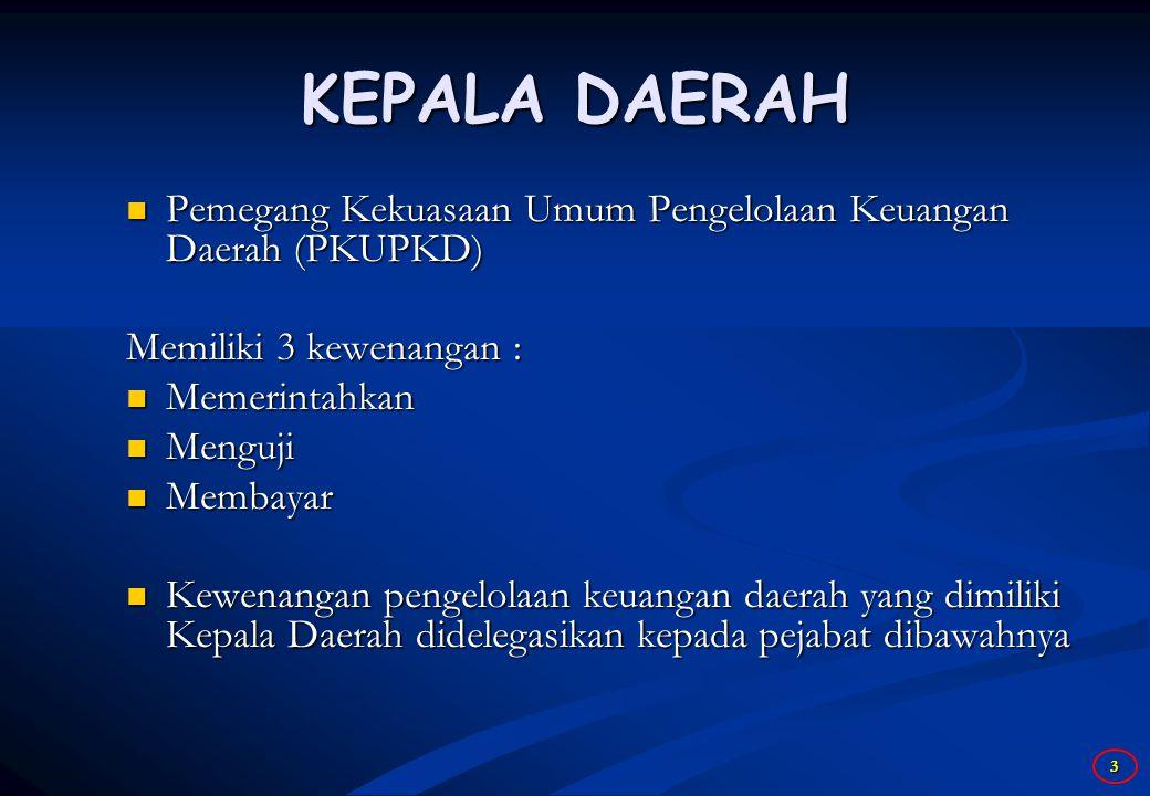 KEPALA DAERAH Pemegang Kekuasaan Umum Pengelolaan Keuangan Daerah (PKUPKD) Memiliki 3 kewenangan :