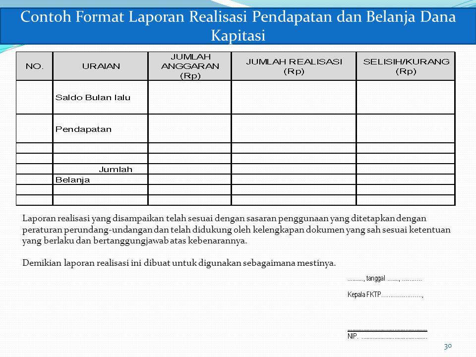 Contoh Format Laporan Realisasi Pendapatan dan Belanja Dana Kapitasi