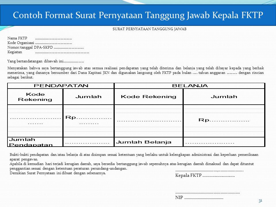 Contoh Format Surat Pernyataan Tanggung Jawab Kepala FKTP