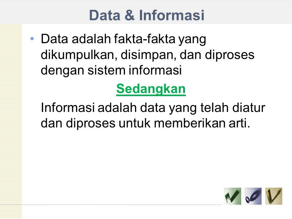 Data & Informasi Data adalah fakta-fakta yang dikumpulkan, disimpan, dan diproses dengan sistem informasi.