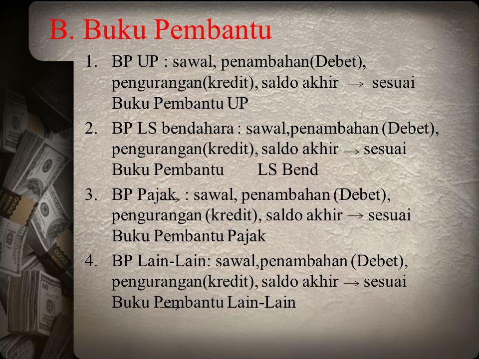 B. Buku Pembantu BP UP : sawal, penambahan(Debet), pengurangan(kredit), saldo akhir sesuai Buku Pembantu UP.