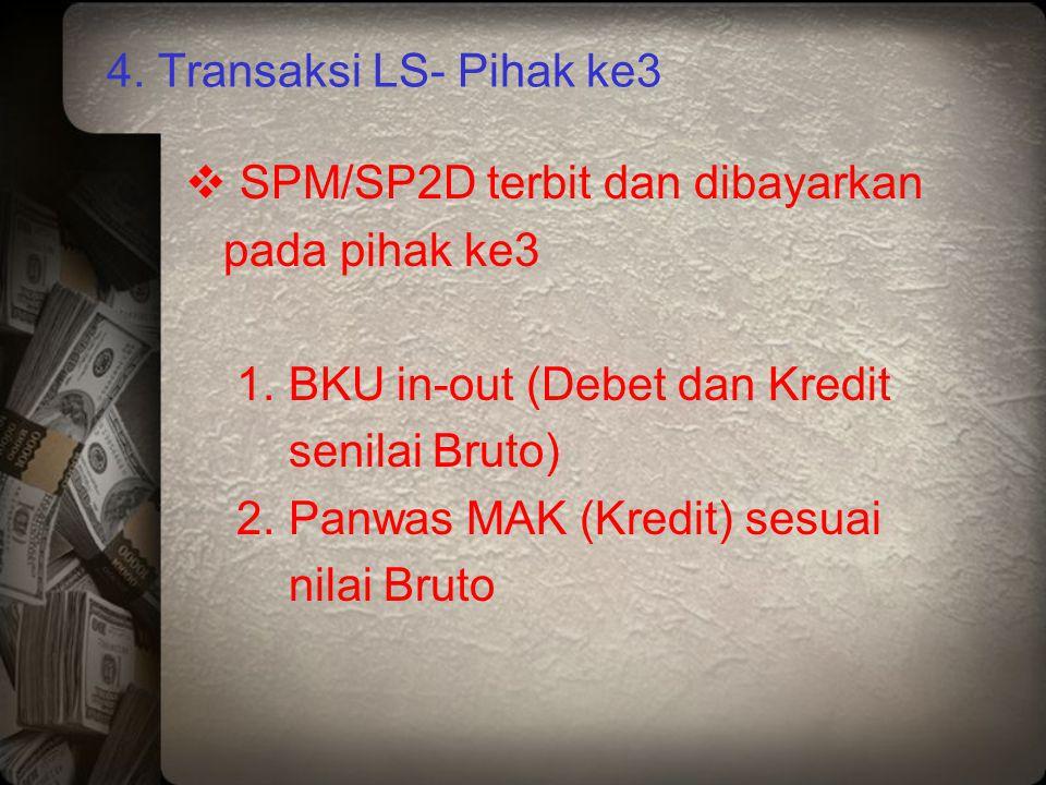 4. Transaksi LS- Pihak ke3 SPM/SP2D terbit dan dibayarkan. pada pihak ke3. 1. BKU in-out (Debet dan Kredit.