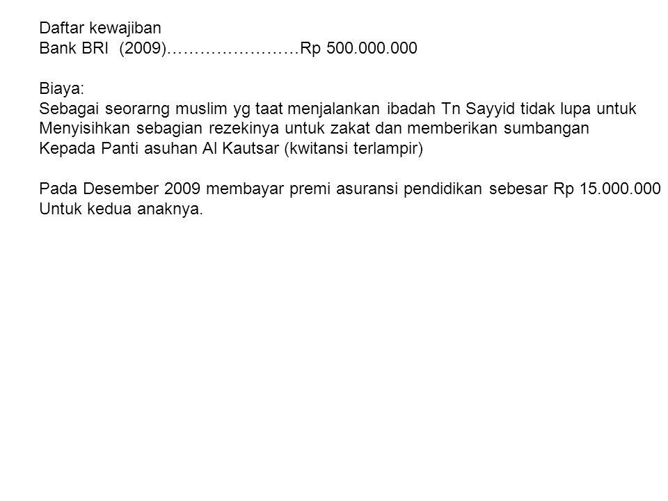 Daftar kewajiban Bank BRI (2009)……………………Rp 500.000.000. Biaya: Sebagai seorarng muslim yg taat menjalankan ibadah Tn Sayyid tidak lupa untuk.
