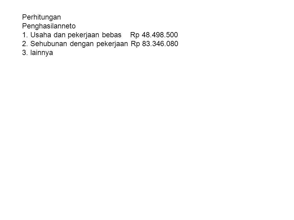 Perhitungan Penghasilanneto. 1. Usaha dan pekerjaan bebas Rp 48.498.500. 2. Sehubunan dengan pekerjaan Rp 83.346.080.