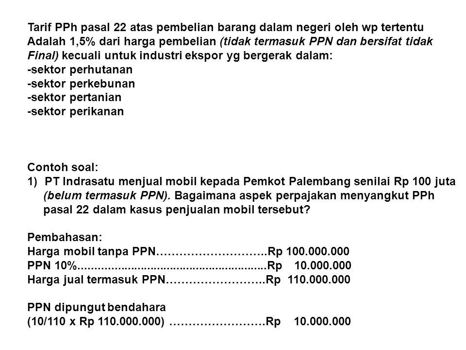 Tarif PPh pasal 22 atas pembelian barang dalam negeri oleh wp tertentu