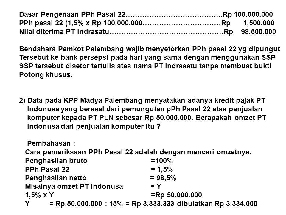 Dasar Pengenaan PPh Pasal 22…………………………………..Rp 100.000.000