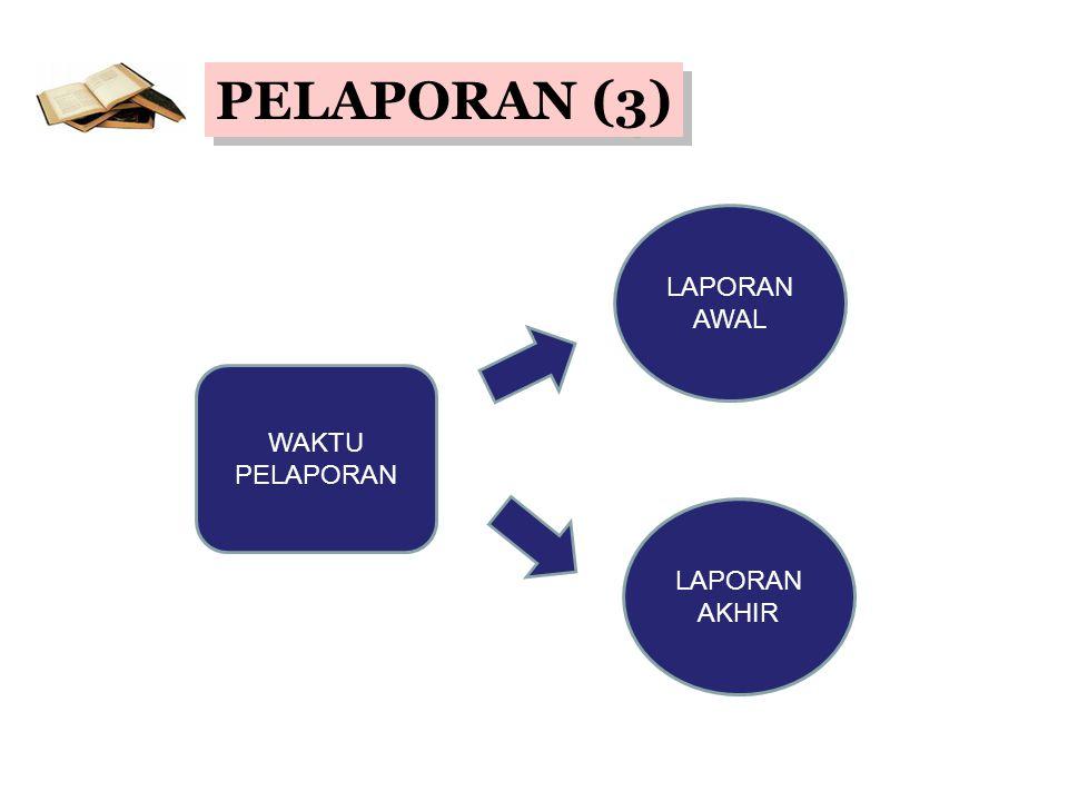 PELAPORAN (3) LAPORAN AWAL WAKTU PELAPORAN LAPORAN AKHIR
