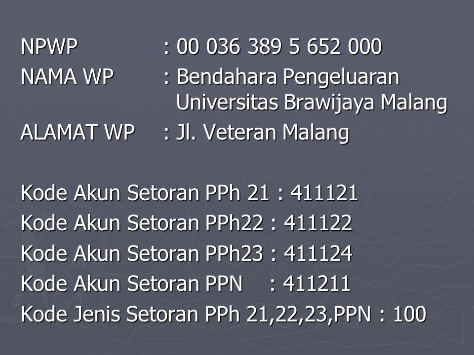 NPWP : 00 036 389 5 652 000 NAMA WP : Bendahara Pengeluaran Universitas Brawijaya Malang ALAMAT WP : Jl.
