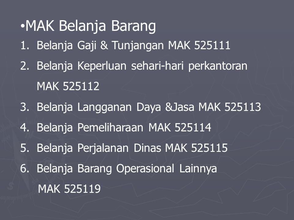 MAK Belanja Barang Belanja Gaji & Tunjangan MAK 525111