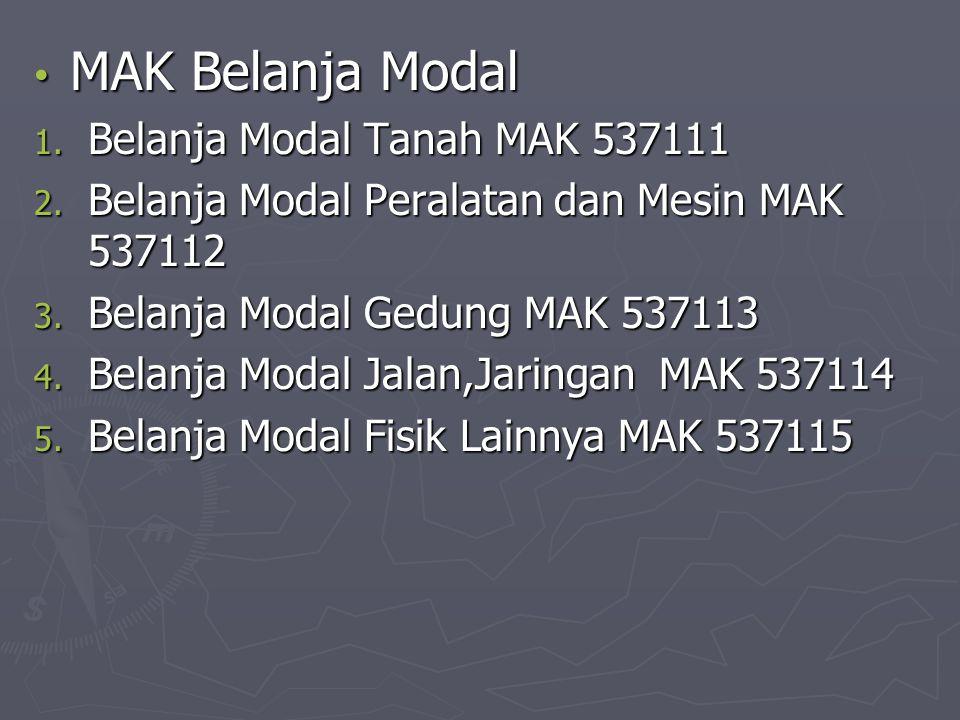 MAK Belanja Modal Belanja Modal Tanah MAK 537111