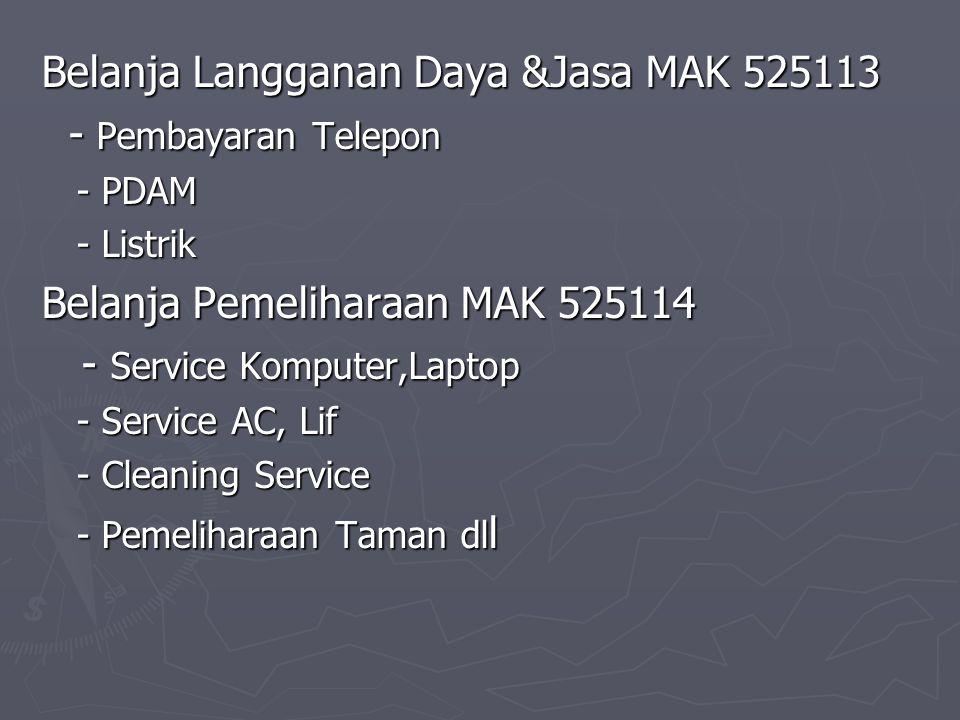 Belanja Langganan Daya &Jasa MAK 525113 - Pembayaran Telepon