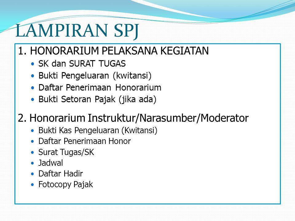 LAMPIRAN SPJ 1. HONORARIUM PELAKSANA KEGIATAN