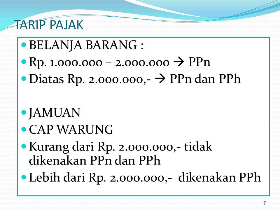 TARIP PAJAK BELANJA BARANG : Rp. 1.000.000 – 2.000.000  PPn