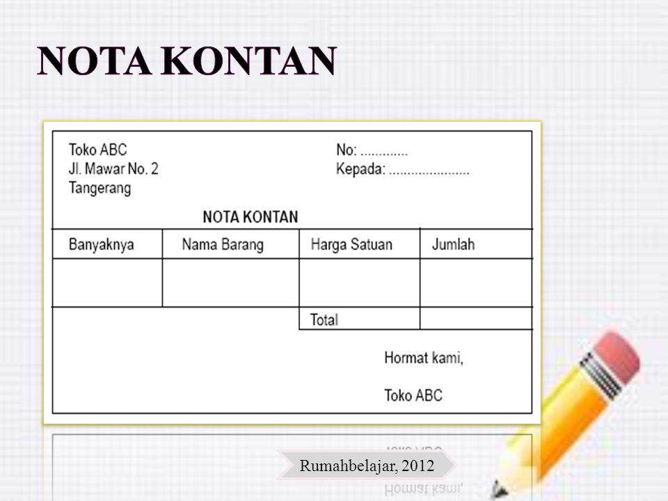 Nota Kontan Rumahbelajar, 2012