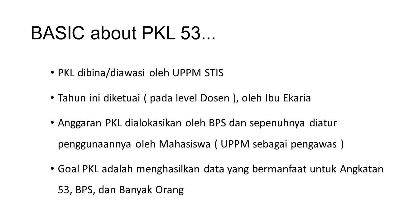 BASIC about PKL 53... PKL dibina/diawasi oleh UPPM STIS