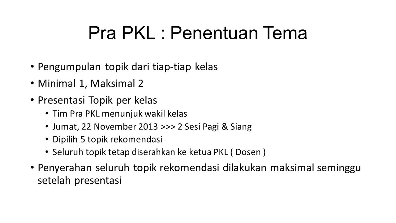 Pra PKL : Penentuan Tema
