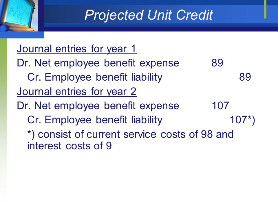 Projected Unit Credit Journal entries for year 1