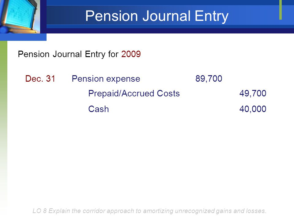 Pension Journal Entry Pension Journal Entry for 2009 Dec. 31