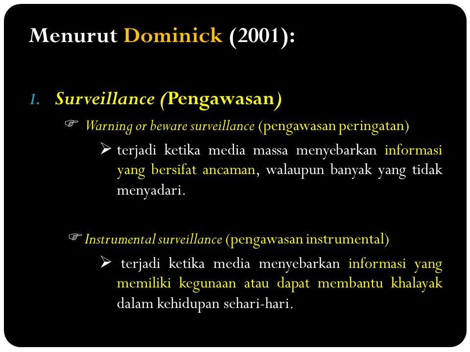 Menurut Dominick (2001): Surveillance (Pengawasan)