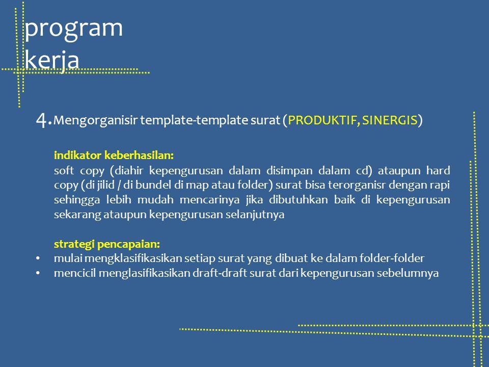 program kerja 4.Mengorganisir template-template surat (PRODUKTIF, SINERGIS) indikator keberhasilan: