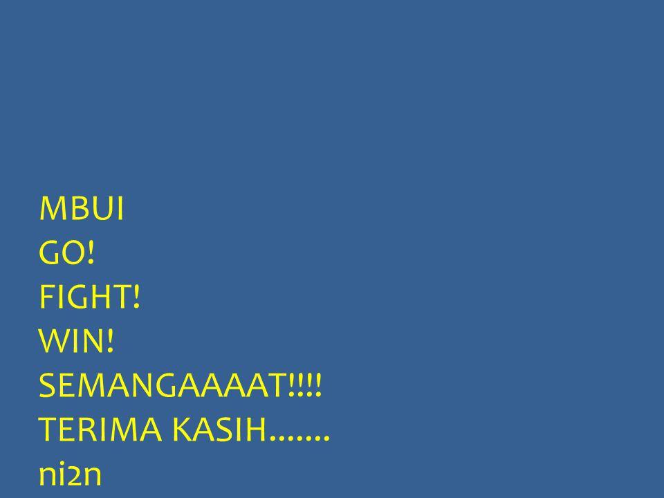 MBUI GO! FIGHT! WIN! SEMANGAAAAT!!!! TERIMA KASIH....... ni2n