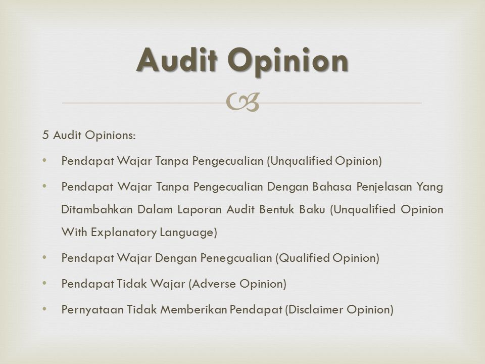 Audit Opinion 5 Audit Opinions:
