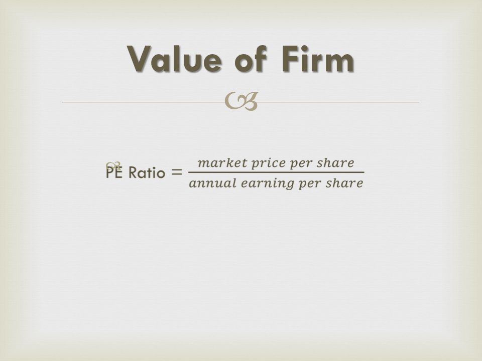 Value of Firm