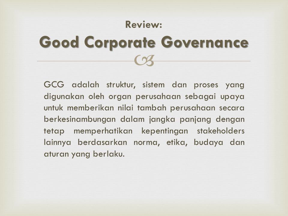 Review: Good Corporate Governance