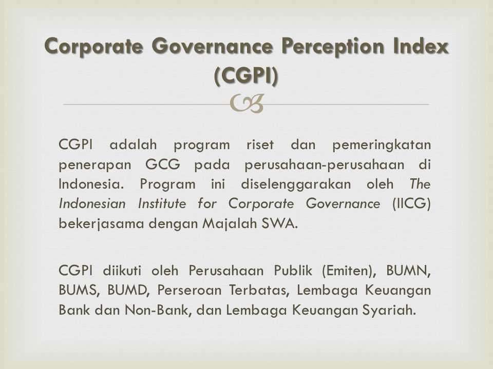 Corporate Governance Perception Index (CGPI)