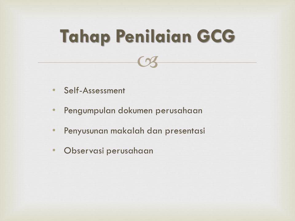 Tahap Penilaian GCG Self-Assessment Pengumpulan dokumen perusahaan