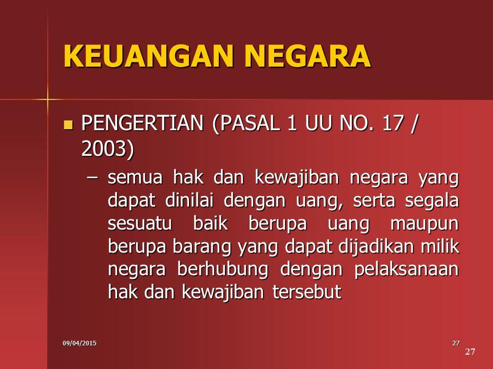 KEUANGAN NEGARA PENGERTIAN (PASAL 1 UU NO. 17 / 2003)