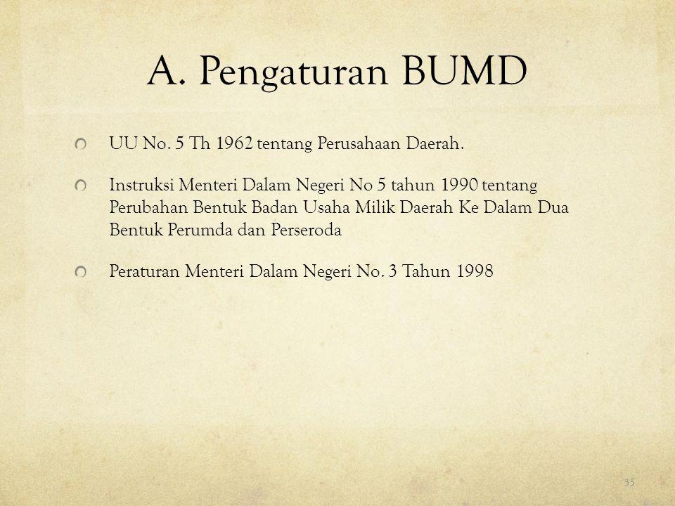 A. Pengaturan BUMD UU No. 5 Th 1962 tentang Perusahaan Daerah.