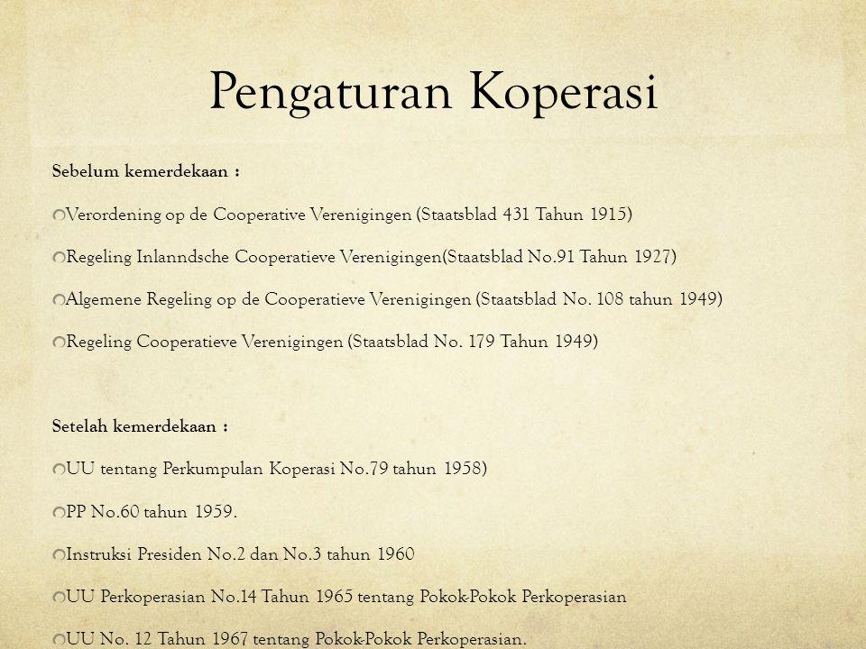 Pengaturan Koperasi Sebelum kemerdekaan :