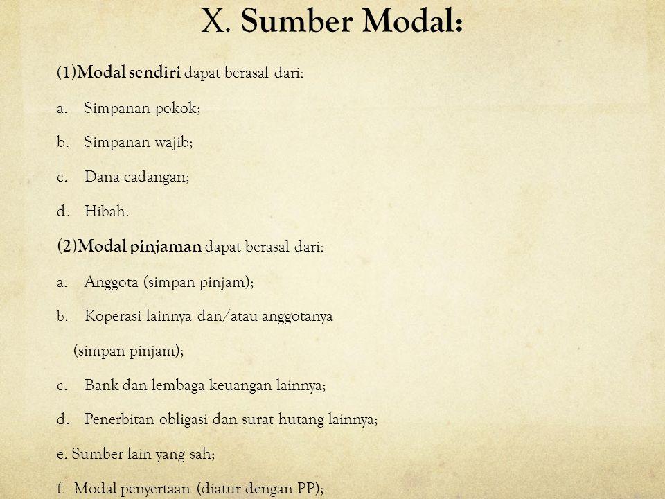 X. Sumber Modal: (2)Modal pinjaman dapat berasal dari: