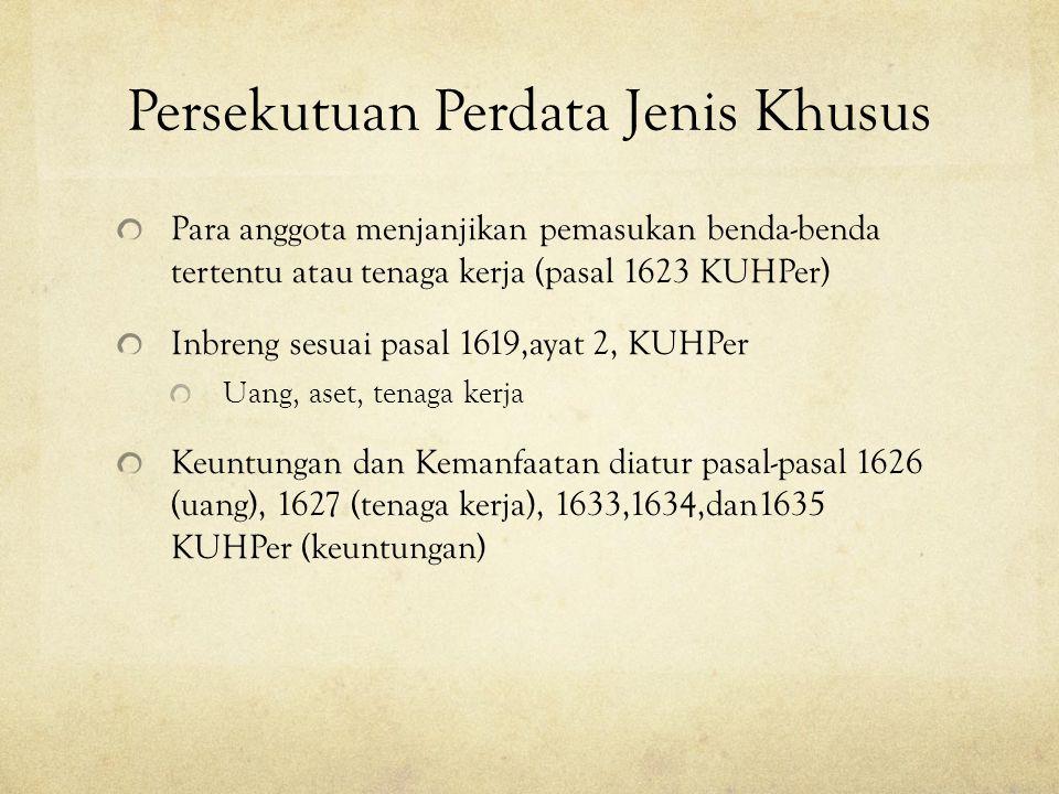 Persekutuan Perdata Jenis Khusus