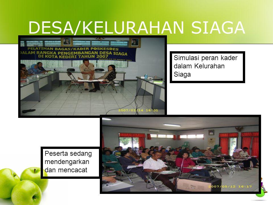 DESA/KELURAHAN SIAGA Simulasi peran kader dalam Kelurahan Siaga