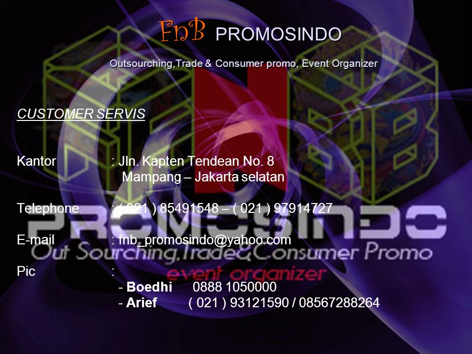 FnB PROMOSINDO Outsourching,Trade & Consumer promo, Event Organizer