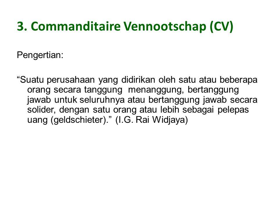 3. Commanditaire Vennootschap (CV)