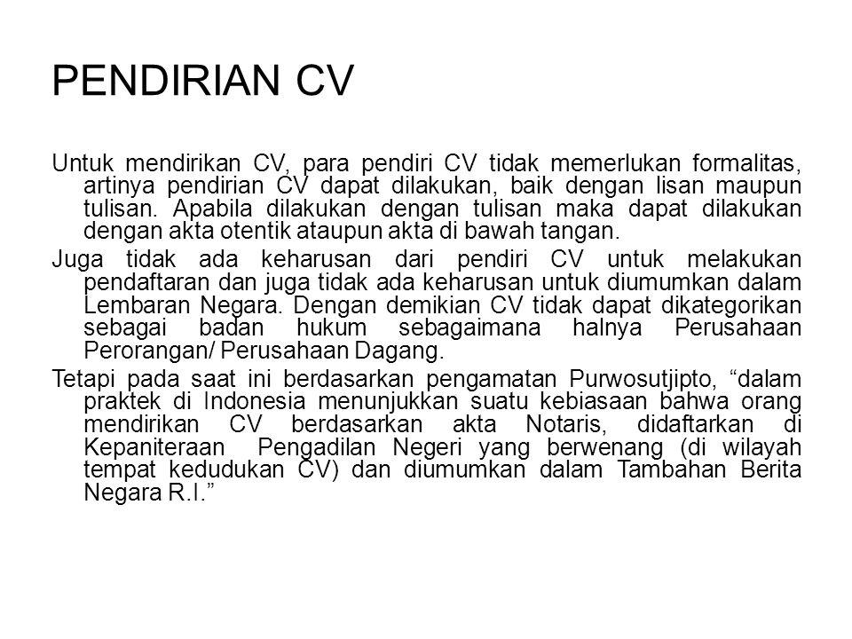 PENDIRIAN CV