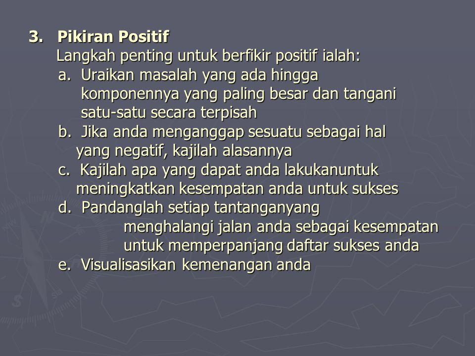 3. Pikiran Positif Langkah penting untuk berfikir positif ialah: a