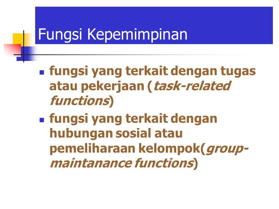 Fungsi Kepemimpinan fungsi yang terkait dengan tugas atau pekerjaan (task-related functions)