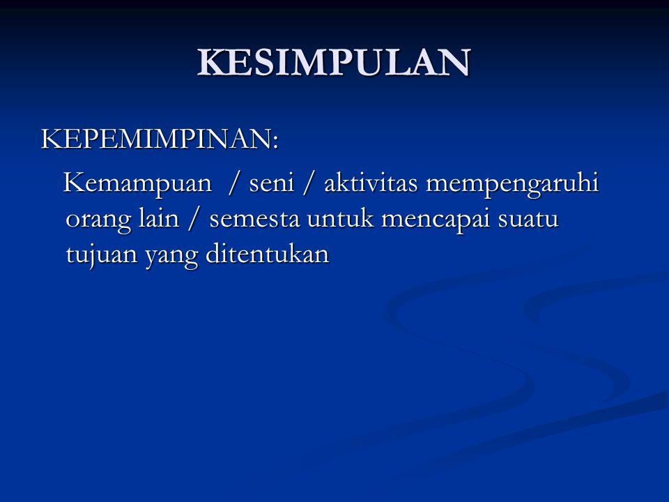 KESIMPULAN KEPEMIMPINAN: