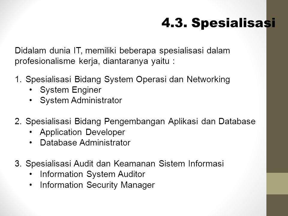 4.3. Spesialisasi Didalam dunia IT, memiliki beberapa spesialisasi dalam profesionalisme kerja, diantaranya yaitu :