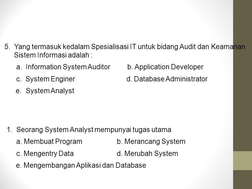 5. Yang termasuk kedalam Spesialisasi IT untuk bidang Audit dan Keamanan Sistem Informasi adalah :
